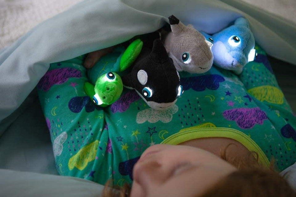 NightBuddies Baby Sea Light-Up Plush 4pk Turtle Dolphin Shark Orca Whale Set