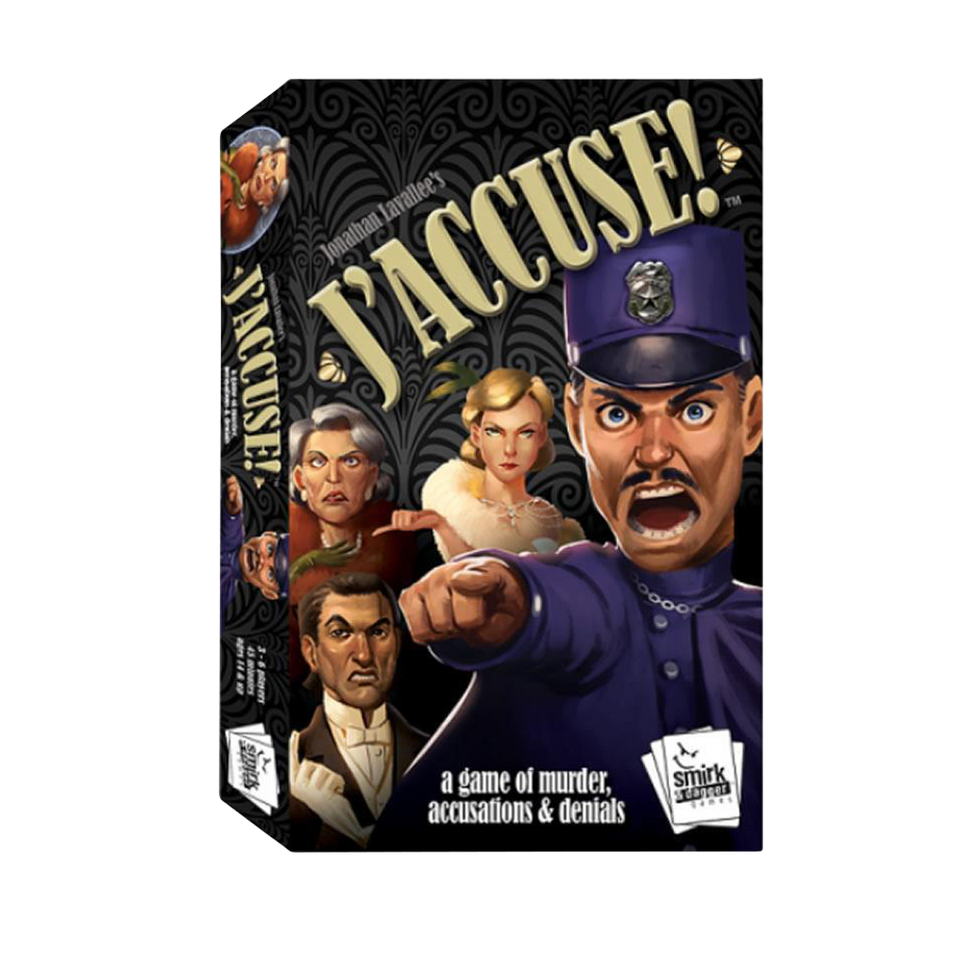 J'accuse! Card Board Game Murder Accusation Denials Police Implicate Players Smirk & Dagger SD0029