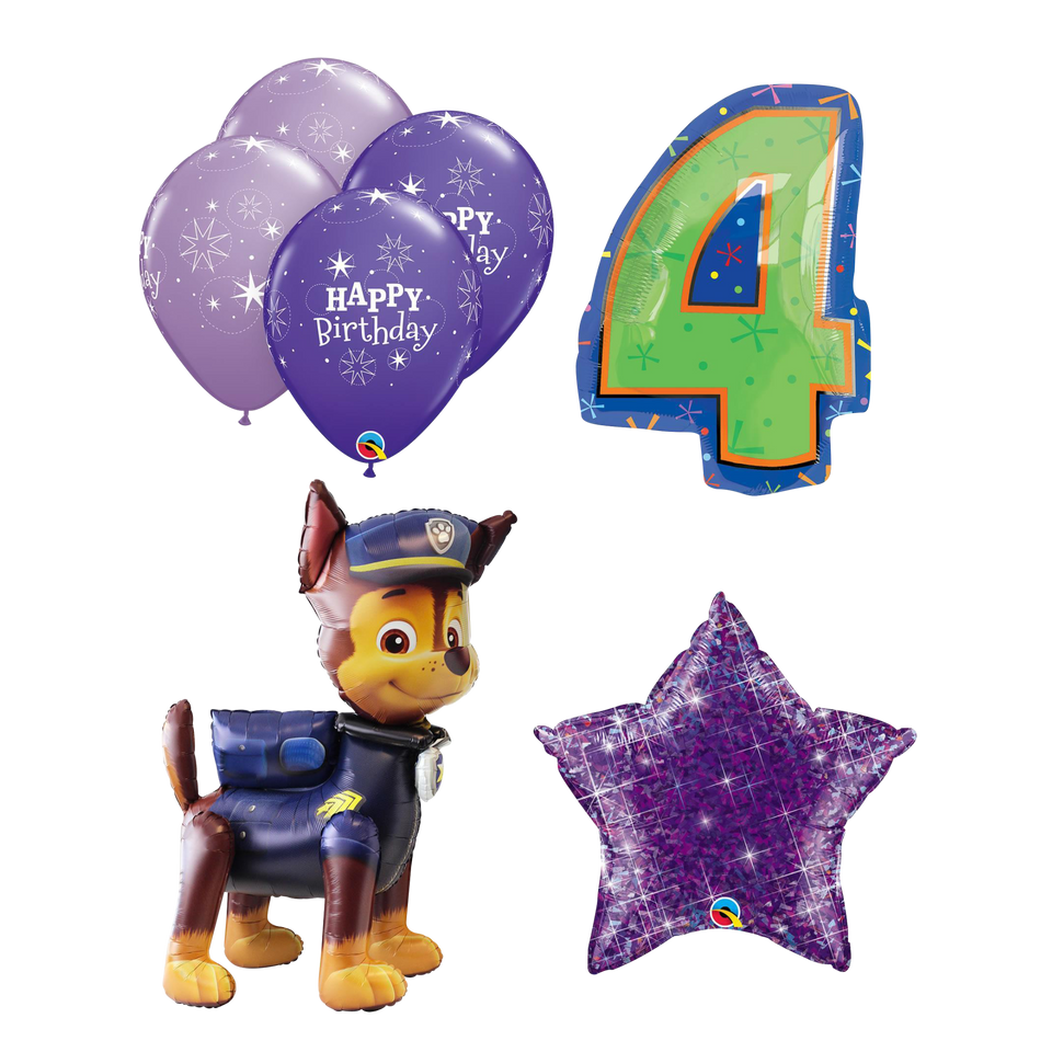 Paw Patrol Chase Airwalker 4th Birthday Ballon Set Kids Party Decoration