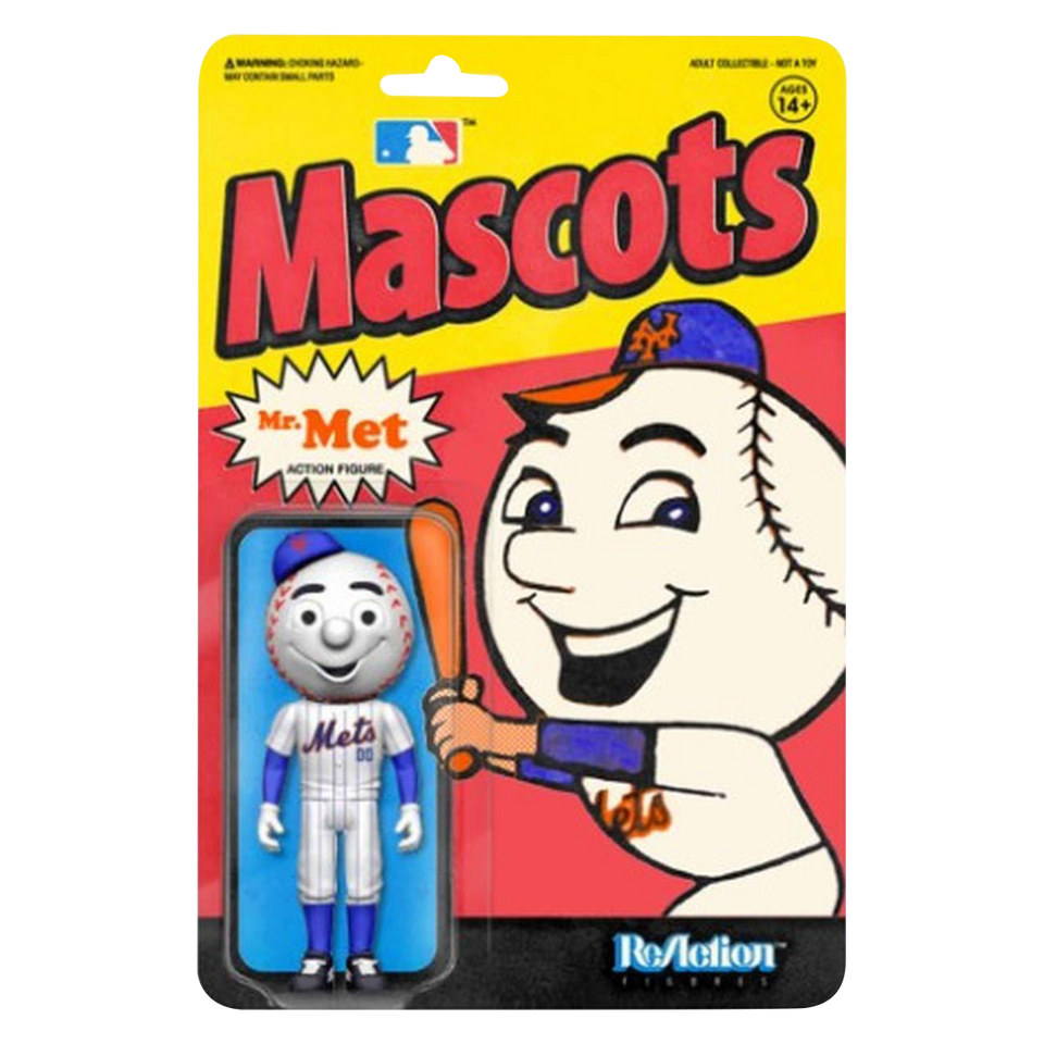 Mr. Met Mascots Mets MLB Collectible Baseball Action Figure - Articulated (Retro)