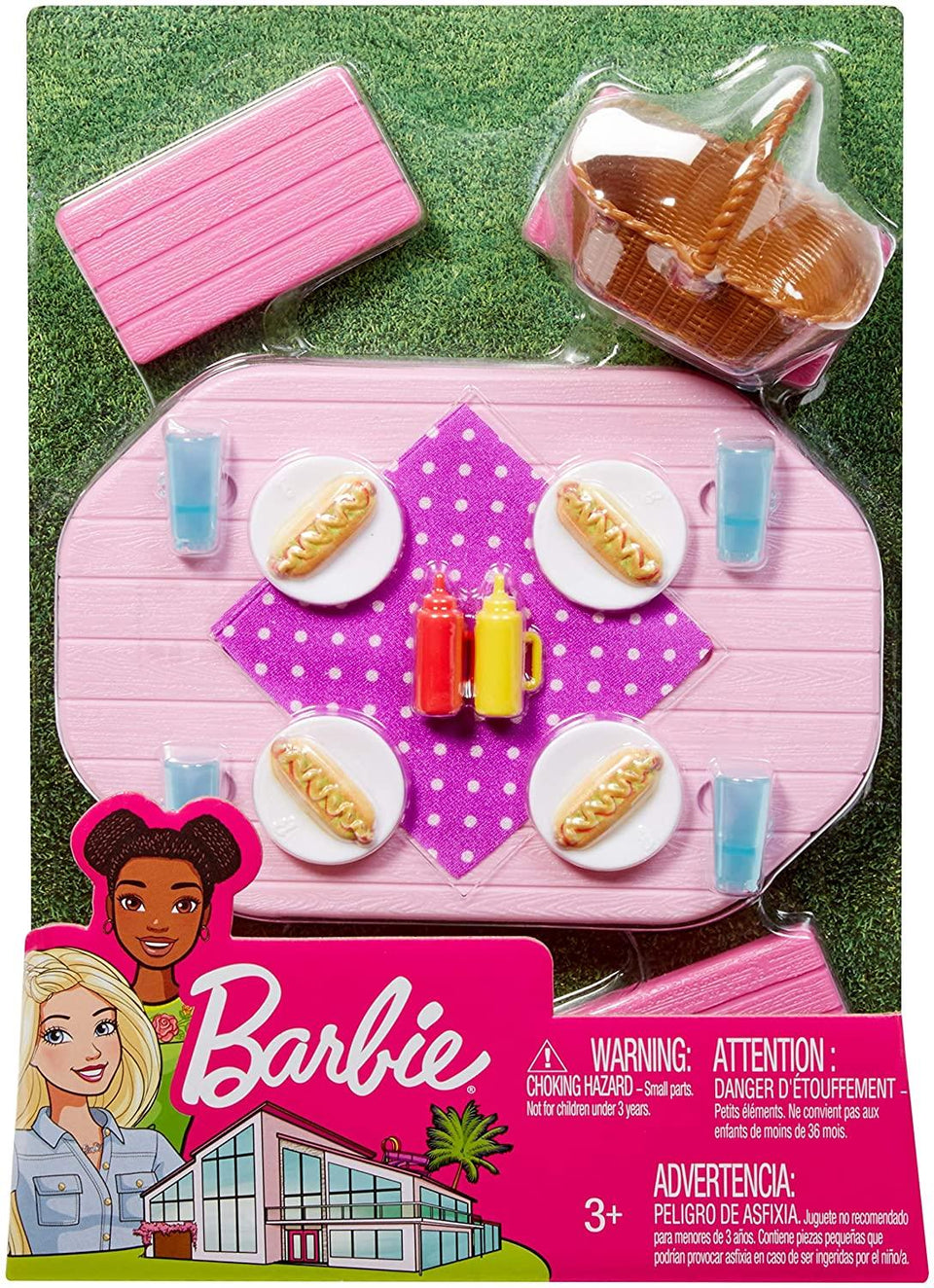 Barbie Outdoor Furniture Pink Picnic Table Doll Playset