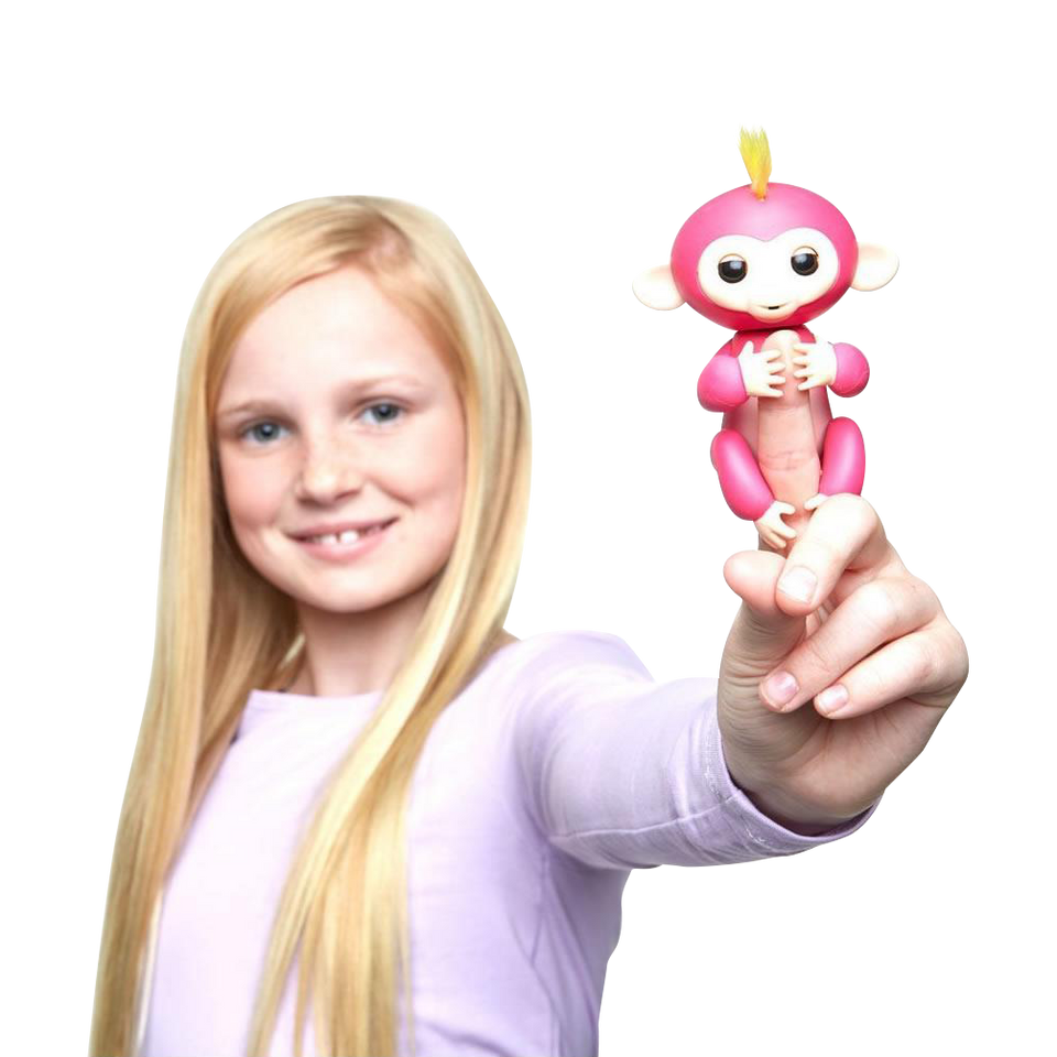 Fingerlings Interactive Baby Monkey Bella Finger Toy Pink w/Yellow Hair WowWee