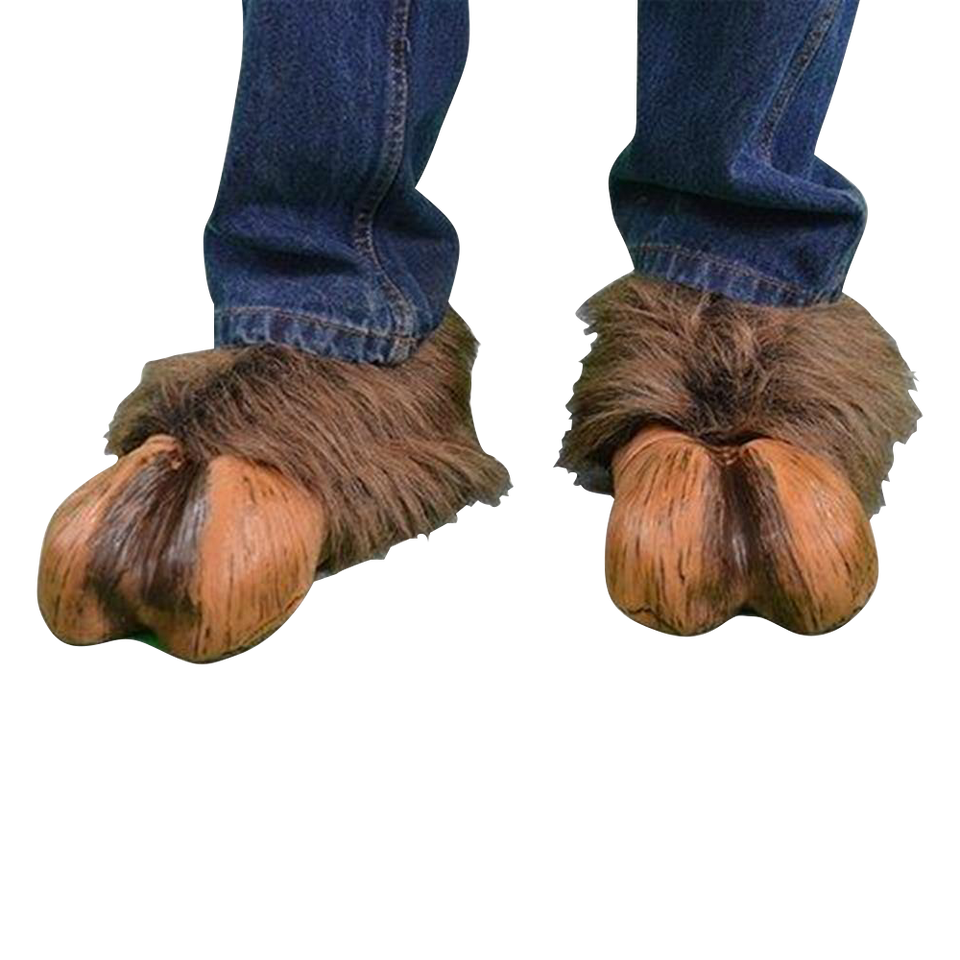 Hoof-Hearted Brown Faux Fur & Latex Hoof Shoes Costume Accessory