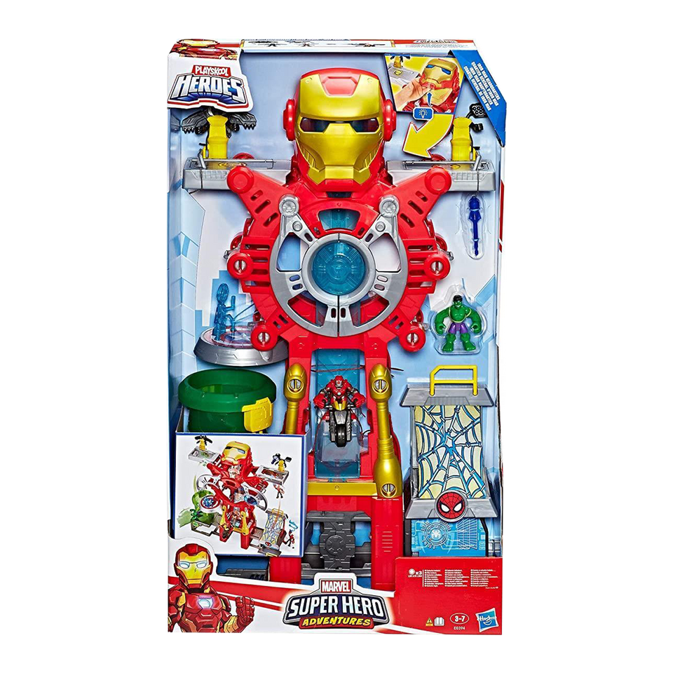 Playskool Heroes Marvel Super Hero Adventures Iron Man Headquarters Hulk Playset