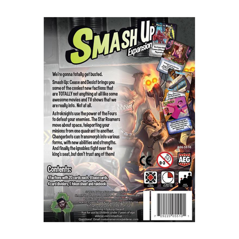 Smash Up: Cease and Desist AEG Card Game Expansion Multi-Player Fun 5510