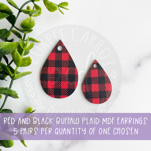 Buffalo Plaid Print Teardrop Earrings