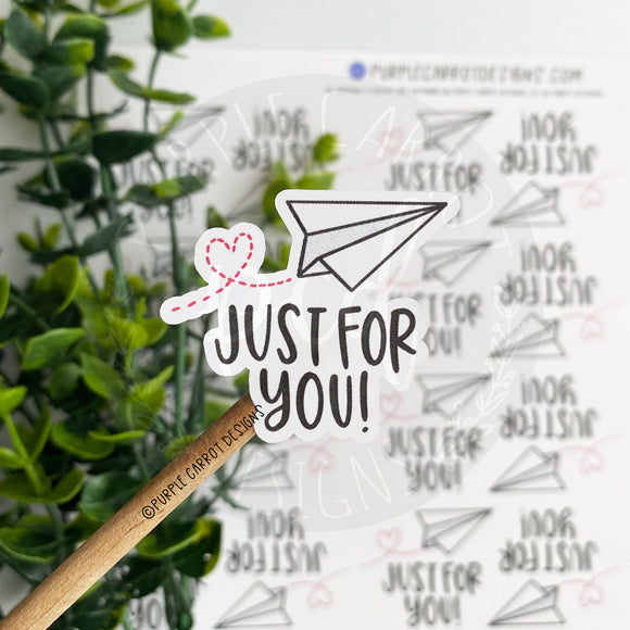 Just For You Paper Airplane Sticker©
