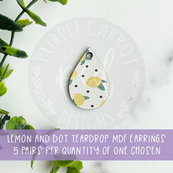 Lemon MDF Teardrop Earrings