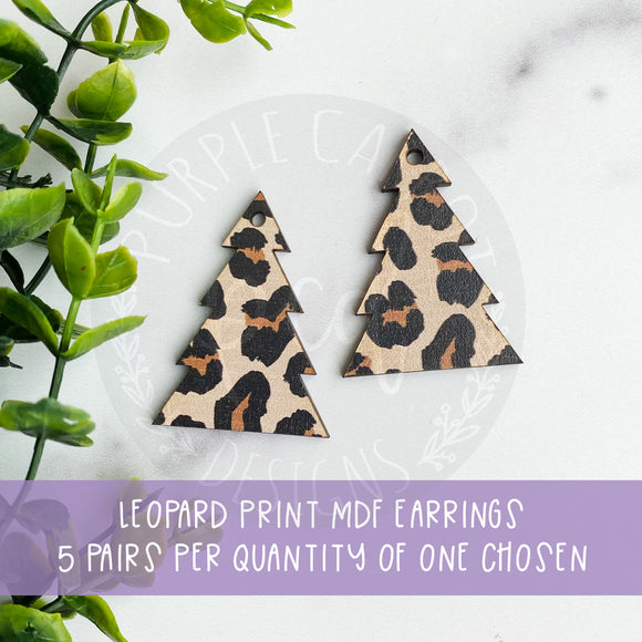 Leopard Print Christmas Earrings