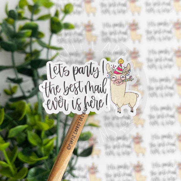 Llama Let's Party Sticker