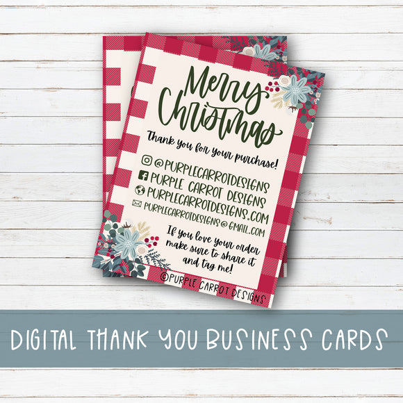 Digital Custom Christmas Business Info Cards