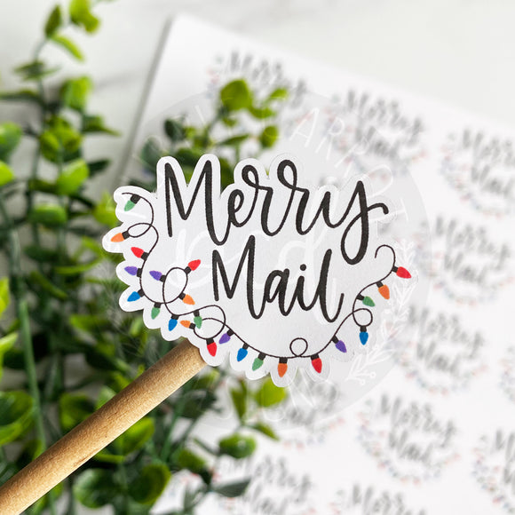 Merry Mail Christmas Lights Sticker