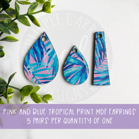 Pink and Blue Tropical Teardrop Earrings