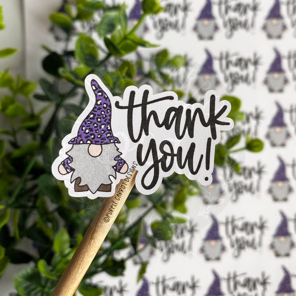 Purple Leopard Gnome Thank You Sticker©