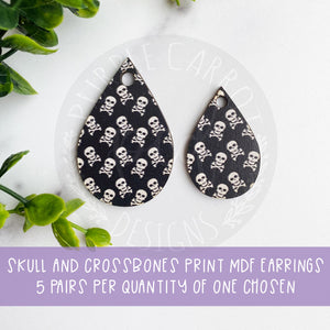 Skull and Crossbones Teardrop Earrings