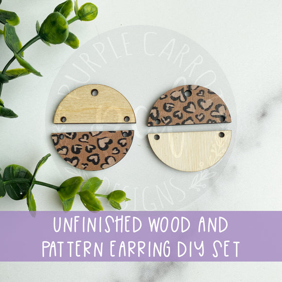 Heart Leopard Print MDF and Wood Earrings