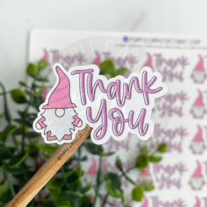 Thank You Pink and Purple Gnome© Sticker