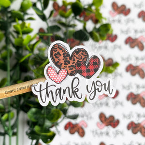 Thank You Animal Print Hearts Sticker