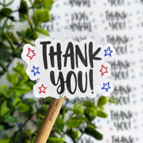 Thank You Red and Blue Stars Sticker©