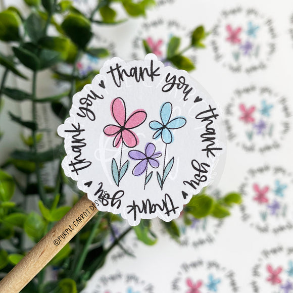 Thank You Flowers Round Sticker©