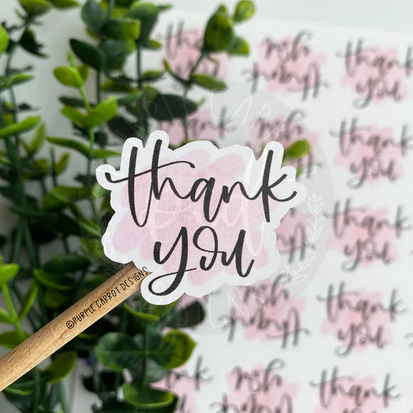 Thank You Light Pink Watercolor Sticker©