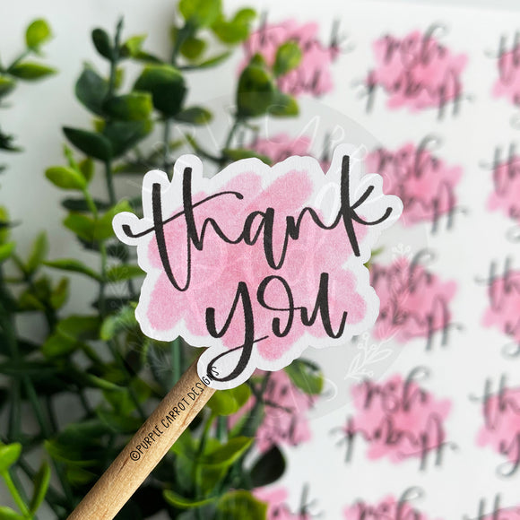 Thank You Pink Watercolor Sticker©