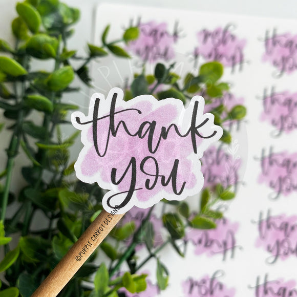 Thank You Purple Watercolor Sticker©