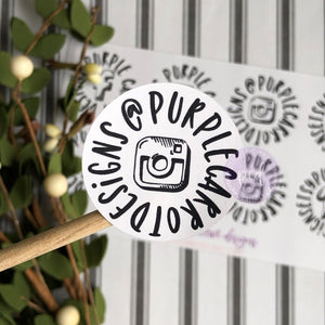 Black and White Instagram Sticker Round