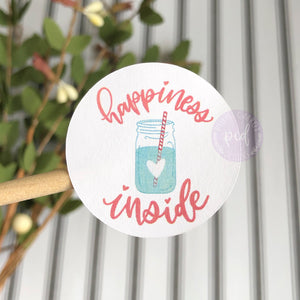 Happiness Inside Round Sticker