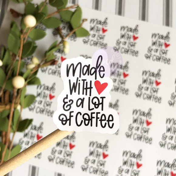 Made With Love and Coffee Sticker, Happy Mail Sticker, Thank You Sticker, Etsy Sticker, Custom Sticker, Etsy Shop Sticker