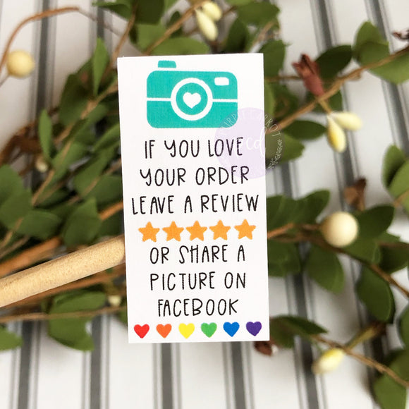 Review Stickers with Facebook Handle Sticker