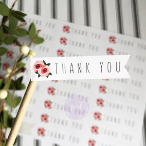 Thank You Flower Pennant Sticker