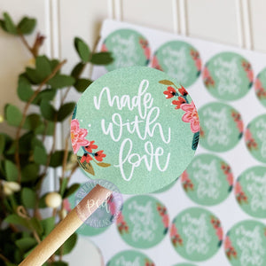 Made With Love Flower Sticker