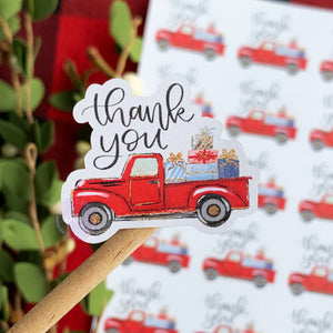 Thank You Red Vintage Truck Christmas Sticker