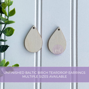 Teardrop Wooden Earring Blanks