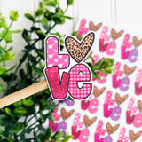Faux Glitter Valentine Love Sticker