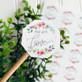 Made With Love Flower Frame Sticker