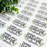 Natural Ingredients Sticker, Handmade Natural Ingredients, Small Shop Stickers, Etsy Stickers, Happy Mail Stickers, Thank You Stickers