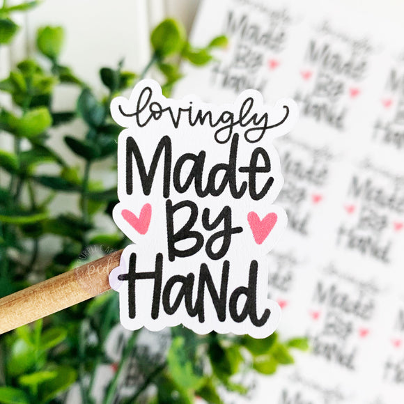 Lovingly Made By Hand, Handmade, Handmade Gift, Happy Mail Sticker, Etsy Sticker, Thank You Sticker, Small Shop Sticker, Made by Hand