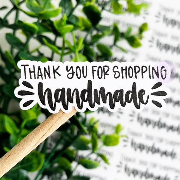 Foiled Thank You for Shopping Handmade© Sticker