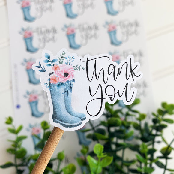 Thank You Sticker Rain Boot Sticker