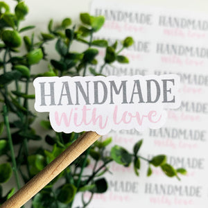 Handmade With Love Pink and Gray Sticker