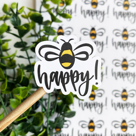 Bee Happy Sticker, Happy Mail Sticker, Etsy Sticker, Party Favor Sticker, Wedding Favor, Snail Mail, Small Shop Sticker, MLM Business