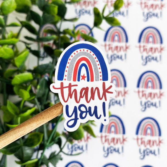 Thank You Patriotic Rainbow Sticker