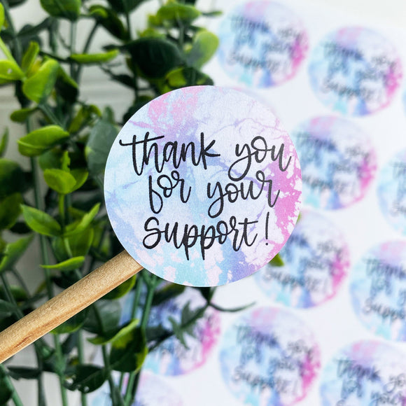 Thank You For Your Support Marble Sticker