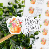 Thank You Pumpkin Flower Sticker