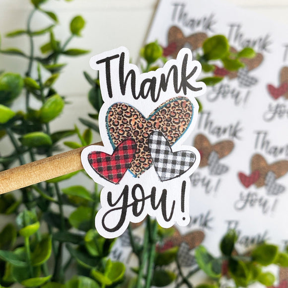 Thank You Animal Print and Plaid Hearts Sticker