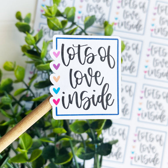 Lots of Love Inside Sticker, Etsy Sticker, Happy Mail Sticker, Packaging Supplies, Etsy Supplies, Small Shop Sticker, Small Business Sticker