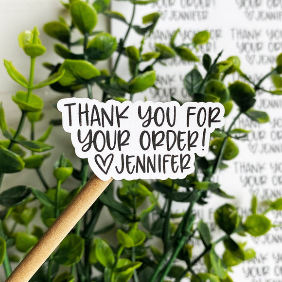 Personalized Thank You for Your Order Sticker, Thank You Sticker, Small Shop Sticker, Small Business, Etsy Sticker, Happy Mail, Thank You