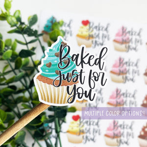 Baked Just For You Cupcake Sticker
